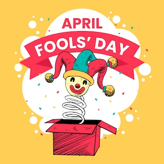 Celebração do dia dos tolos de abril desenhados à mão