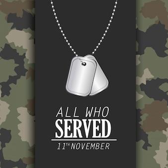 Celebração do dia dos veteranos e colar memorável