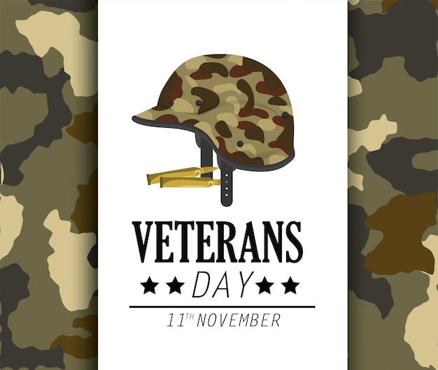 Celebração do dia dos veteranos e uniforme de capacete
