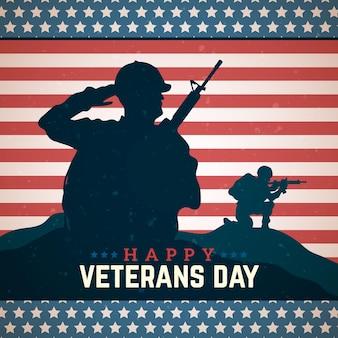 Celebração do dia dos veteranos em estilo vintage