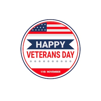 Celebração do dia dos veteranos feriado americano nacional cartão do ícone com bandeira eua
