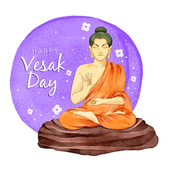 Celebração do dia em aquarela feliz vesak
