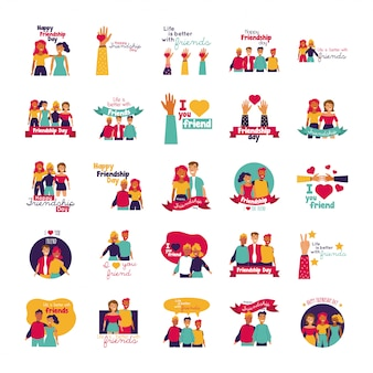 Celebração do dia feliz amizade com conjunto de pessoas e ícones