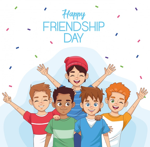 Celebração do dia feliz amizade com grupo de crianças e confetes