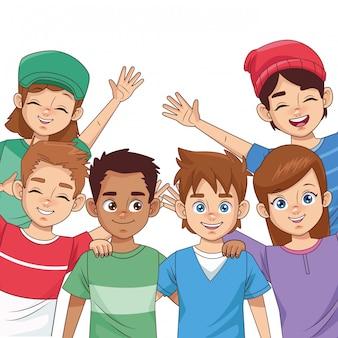 Celebração do dia feliz amizade com grupo de crianças