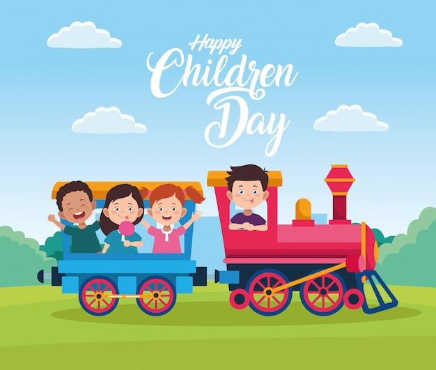Celebração do dia feliz crianças com crianças brincando no trem