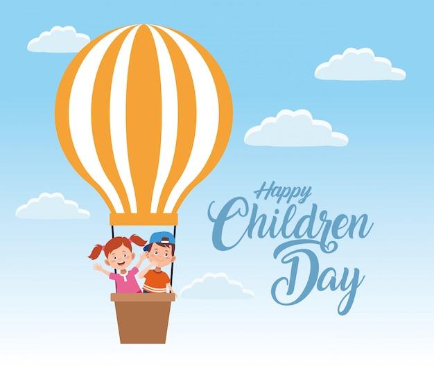 Celebração do dia feliz crianças com crianças voando