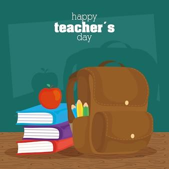 Celebração do dia feliz professores com lousa e livros