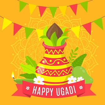 Celebração do dia feliz ugadi design plano