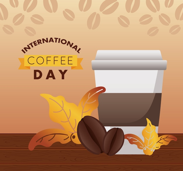 Celebração do dia internacional do café com recipiente de plástico e grãos