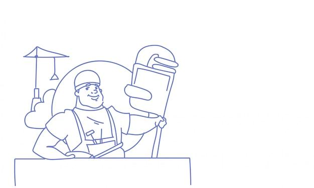 Celebração do dia internacional do trabalho feliz trabalhador pode feriado doodle de desenho de cartão