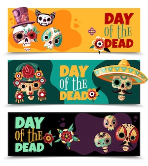 Celebração do dia morto 3 banners horizontais coloridos com máscaras de scull ornamentado engraçado