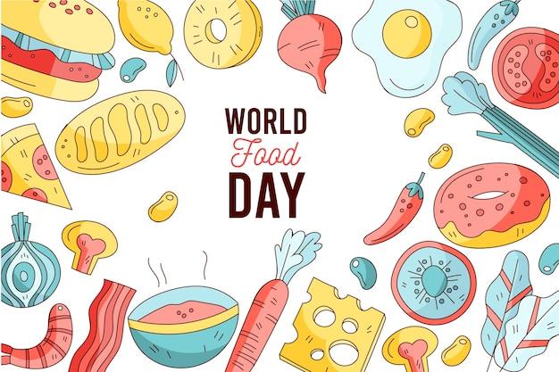 Celebração do dia mundial da comida desenhada à mão