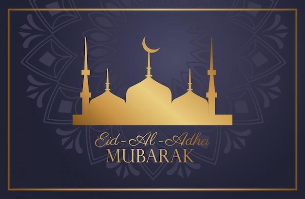 Celebração do eid al adha mubarak com a mesquita do taj mahal