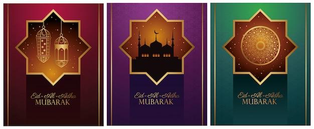 Celebração do eid al adha mubarak com ícones dourados
