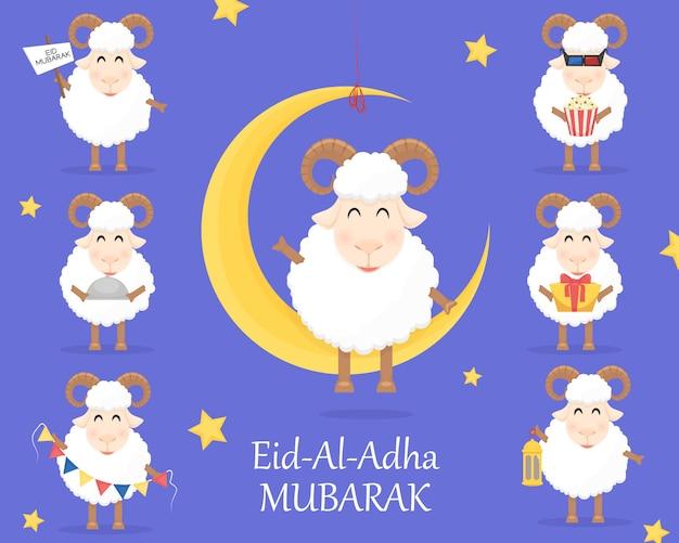 Celebração do eid al adha mubarak com ovelhas