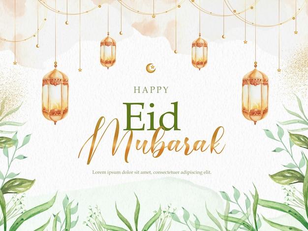 Celebração do eid mubarak com folhas tropicais e lanterna
