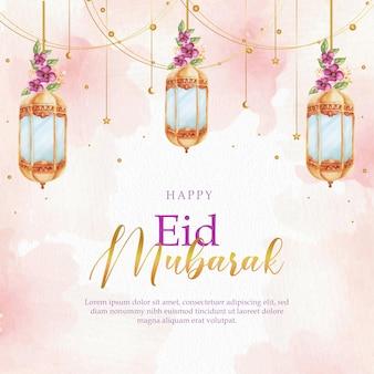 Celebração do eid mubarak com lanterna