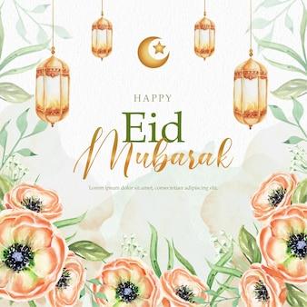 Celebração do eid mubarak com lindos florais e lanterna