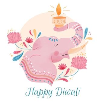 Celebração do elefante diwali em aquarela