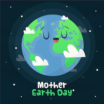 Celebração do evento do dia da mãe terra desenhados à mão