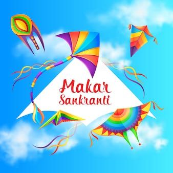 Celebração do feriado de makar sankranti com pipas