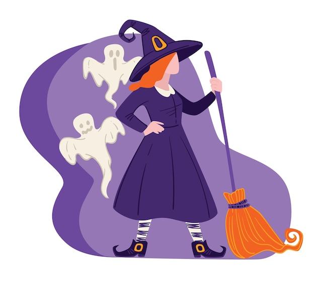 Celebração do feriado de outono, roupa de festa à fantasia de halloween. mulher vestida de bruxa com botas e chapéu segurando a vassoura. fantasmas voadores com mago, feiticeira em casa mal-assombrada. vetor em estilo simples