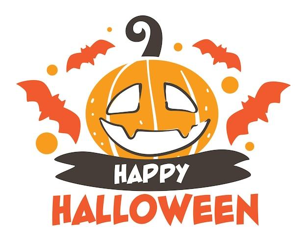 Celebração do feriado sazonal de halloween nos eua, banner com morcegos voando e cara de abóbora esculpida. fita e saudação texto, cartão ou panfleto com jack o lantern. vetor de adesivo decorativo em plano