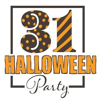 Celebração do feriado tradicional nos eua, banner isolado com texto de caligrafia de 31 de outubro. convite para festa festiva de halloween, evento sazonal no outono. vetor de panfleto ou cartão em estilo simples