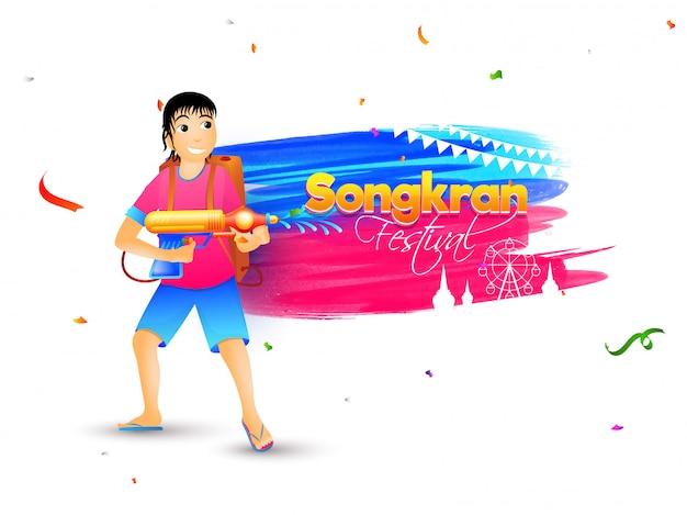 Celebração do festival songkran.