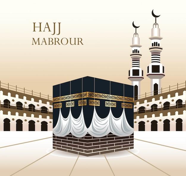 Celebração do hajj mabrour com kaaba sagrado