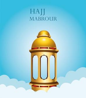 Celebração do hajj mabrour com lanterna dourada