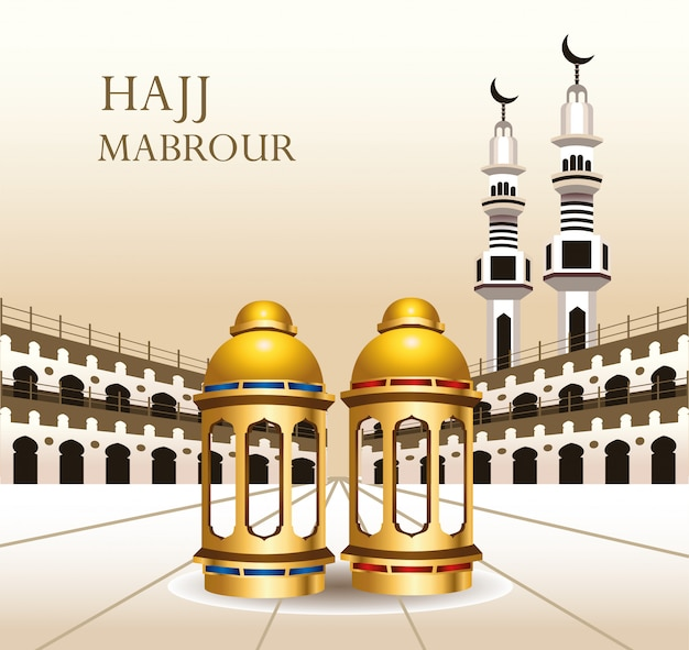 Celebração do hajj mabrour com lanternas douradas