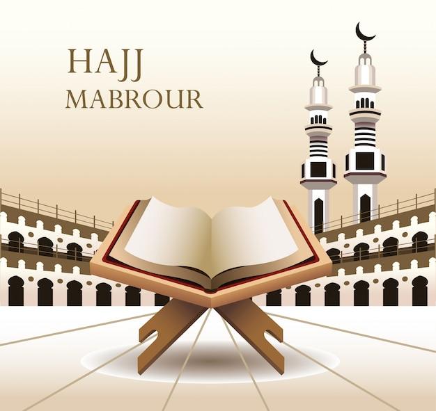 Celebração do hajj mabrour com livro sagrado do corão