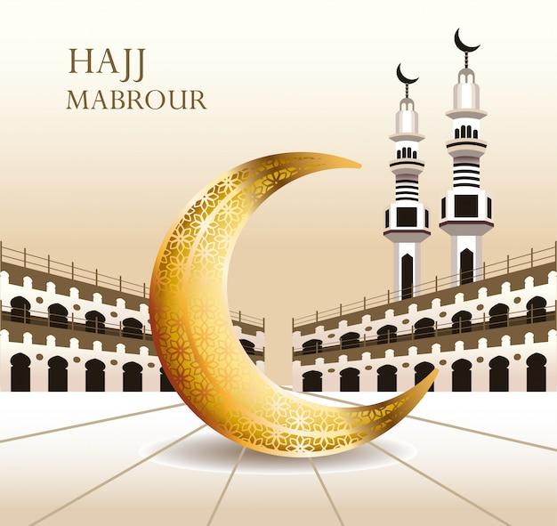 Celebração do hajj mabrour com lua crescente dourada
