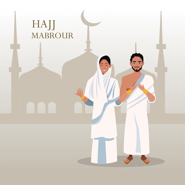 Celebração do hajj mabrour com peregrino islâmico de casal