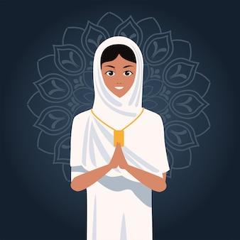 Celebração do hajj mabrour com peregrino islâmico de mulher