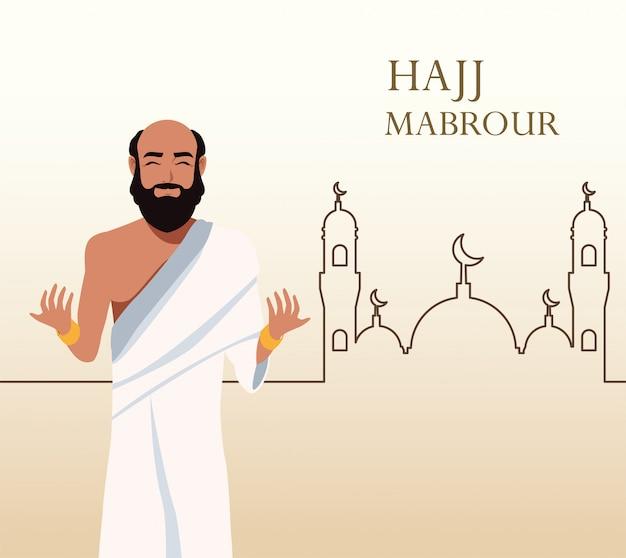 Celebração do hajj mabrour com peregrino islâmico