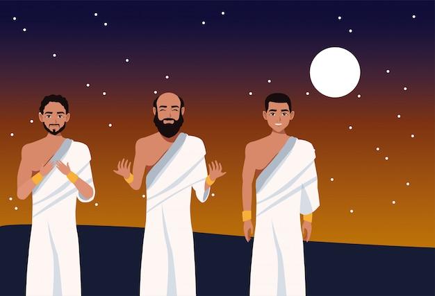 Celebração do hajj mabrour com peregrinos islâmicos do grupo à noite