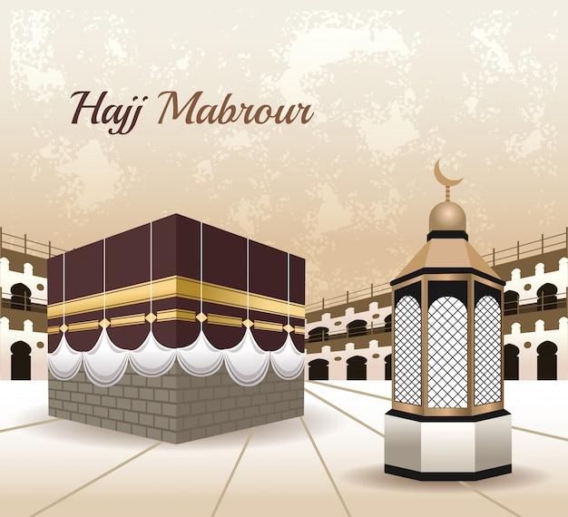 Celebração do hajj mabrur com cena da mesquita