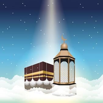 Celebração do hajj mabrur com mataf e lanterna