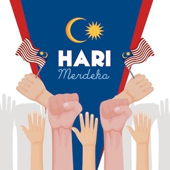 Celebração do hari merdeka na malásia