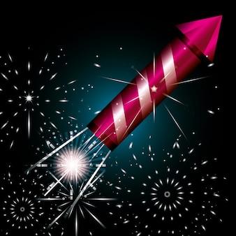 Celebração do ícone de cena noturna de fogos de artifício
