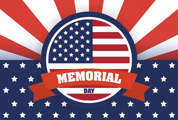 Celebração do memorial day com moldura circular de bandeira dos eua