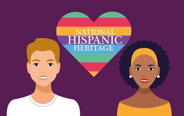 Celebração do patrimônio hispânico nacional com casal e letras em cena de coração.
