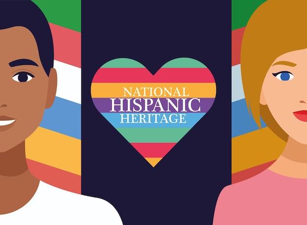 Celebração do patrimônio hispânico nacional com casal e letras no coração.