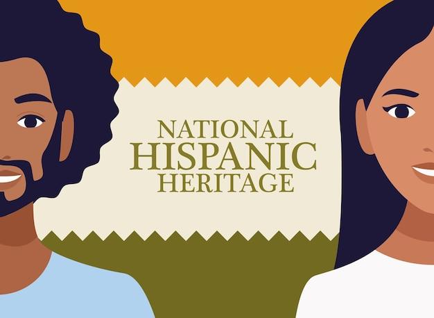 Celebração do patrimônio hispânico nacional com casal e letras.