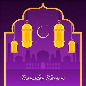 Celebração do ramadã design plano