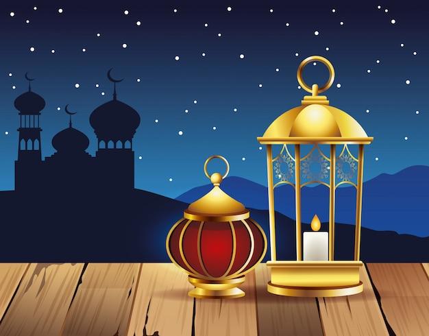 Celebração do ramadã kareem com lâmpadas e ilustração de taj mahal