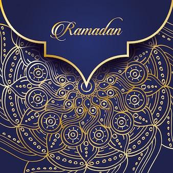Celebração do ramadã kareem com mandala dourada